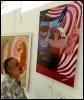 Une toile de l'artiste irakien Khalida al-Dulaishi exposée le 12 mars à Bagdad (© AFP - Khalil al-Murshidi)