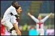 Le Suédois Zlatan Ibrahimovic (D) et le Ghanéen Ali Muntari de l'Inter Milan, le 15 mars 2009 (© AFP/Archives - Giuseppe Cacace)