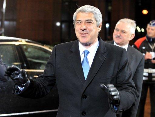 Le premier ministre portugais Jose Socrates lors de son arrivée au sommet de la zone euro, le 16 décembre 2010 à Bruxelles (©  - Georges Gobet)