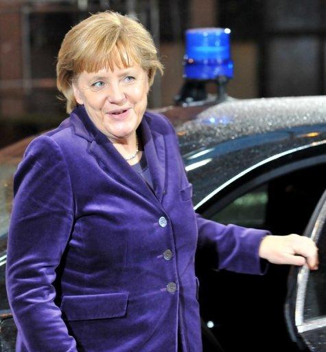 La chancelière allemande Angela Merkel lors de son arrivée à Bruxelles, le 16 décembre 2010 (©  - Georges Gobet)