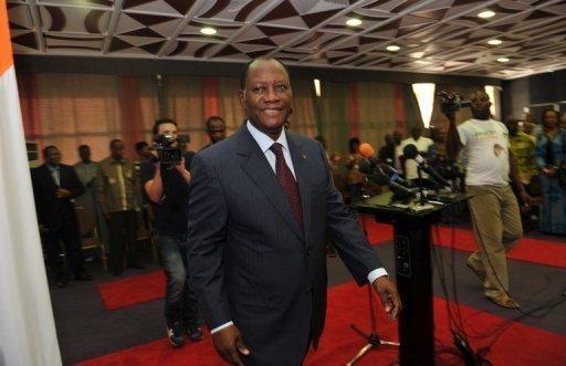 Alassane Ouattara, le 24 décembre 2010 à l'hôtel du Golf d'Abidjan (©  - Issouf Sanogo)