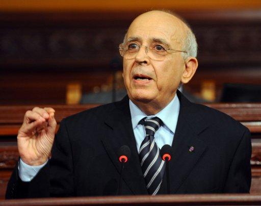 Le Premier ministre tunisien Mohamed Ghannouchi  le 13 janvier 2011 à Tunis (©  - Fethi Belaid)