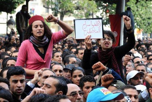 Manifestation le 14 janvier 2011 à Tunis (©  - Fethi Belaid)