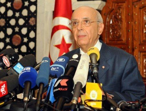 Le Premier ministre tunisien Mohammed Ghannouchi à Tunis le 17 janvier 2011 (©  - Fethi Belaid)