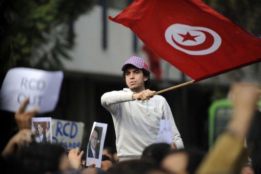 Un homme manifeste contre le parti de Ben Ali, le 19 janvier 2011 à Tunis (©  - Fred Dufour)