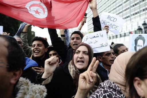 Manifestation le 19 janvier 2011 à Tunis (©  - Fred Dufour)