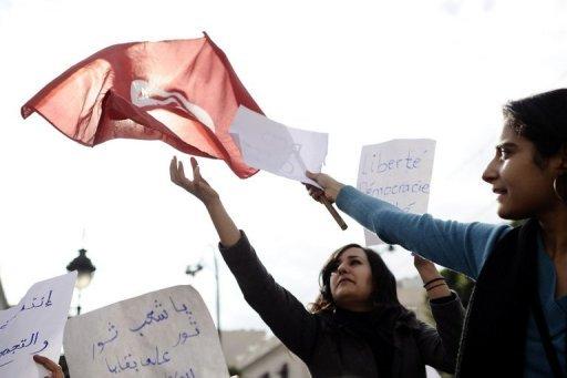Manifestation, le 19 janvier 2011 à Tunis (©  - Fred Dufour)