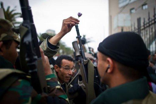 Manifestants et militaires devant le siège du RCD, le 20 janvier 2011 à Tunis (©  - Martin Bureau)