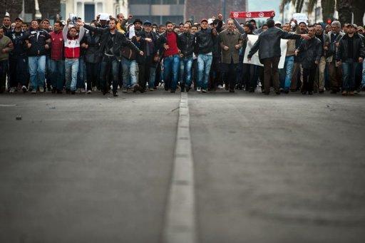 Manifestants à Tunis le 20 janvier 2011 (©  - Martin Bureau)