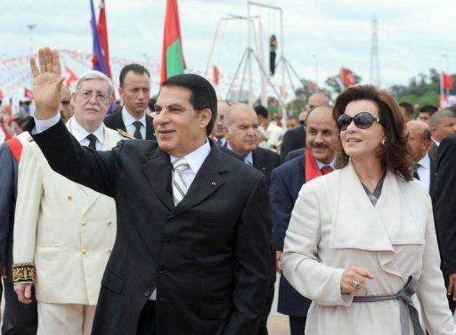 Ben Ali et son épouse Leila le 11 octobre 2009 à Tunis (©  - Fethi Belaid)