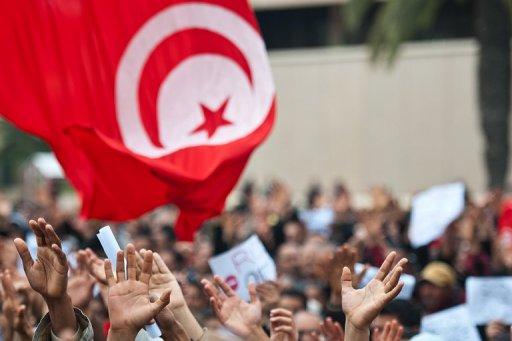 Manifestation devant le parti de Ben Alil le 20 janvier 2010 à Tunis (©  - Martin Bureau)