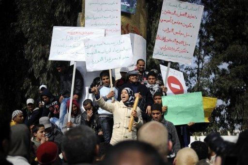 Manifestation à Sidi Bouzid, le 20 janvier 2011 en Tunisie (©  - Fred Dufour)