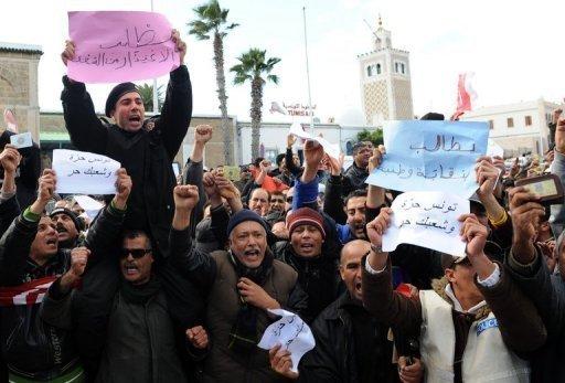 Manifestation, le 22 janvier 2011 à Tunis (©  - Fethi Belaid)