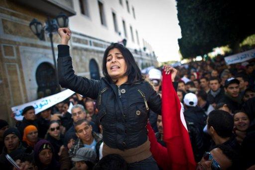 Manifestation à Tunis, le 22 janvier 2011 (©  - Martin Bureau)