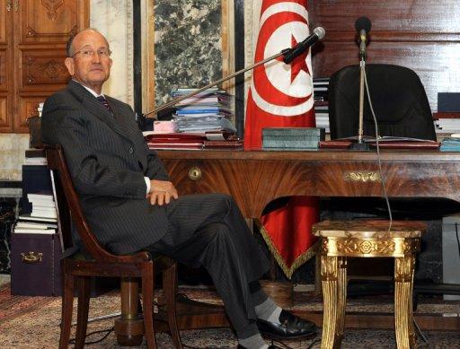 Abdallah Kallel, président du sénat et ancien ministre de l'Intérieur, le 15 janvier 2011 à Tunis (©  - Fethi Belaid)