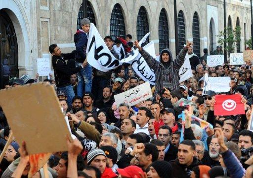 Manifestation à Tunis, le 23 janvier 2011 (©  - Fethi Belaid)