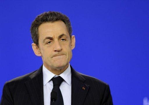Le président français Nicolas Sarkozy, le 30 janvier 2012 à Bruxelles (©  - Eric Feferberg)