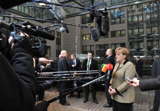 La chancelière Angela Merkel arrive au sommet de Bruxelles le 30 janvier 2012 (©  - Georges Gobet)